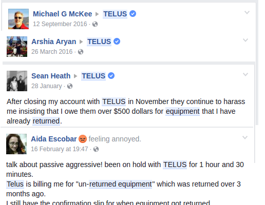 "Telus threatening scores of customers with bogus claims of ""unreturned equipment"""