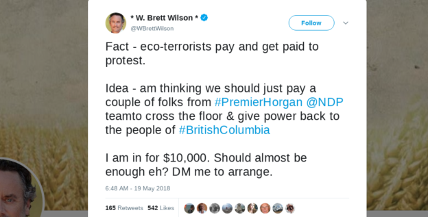 Dear RCMP, Please investigate W. Brett Wilson for offering to pay BC NDP MLAs to cross the floor
