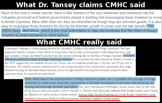 "No, Dr. Tansey, CMHC report never claimed that ""the effect of foreign investors is small compared to other factors"""