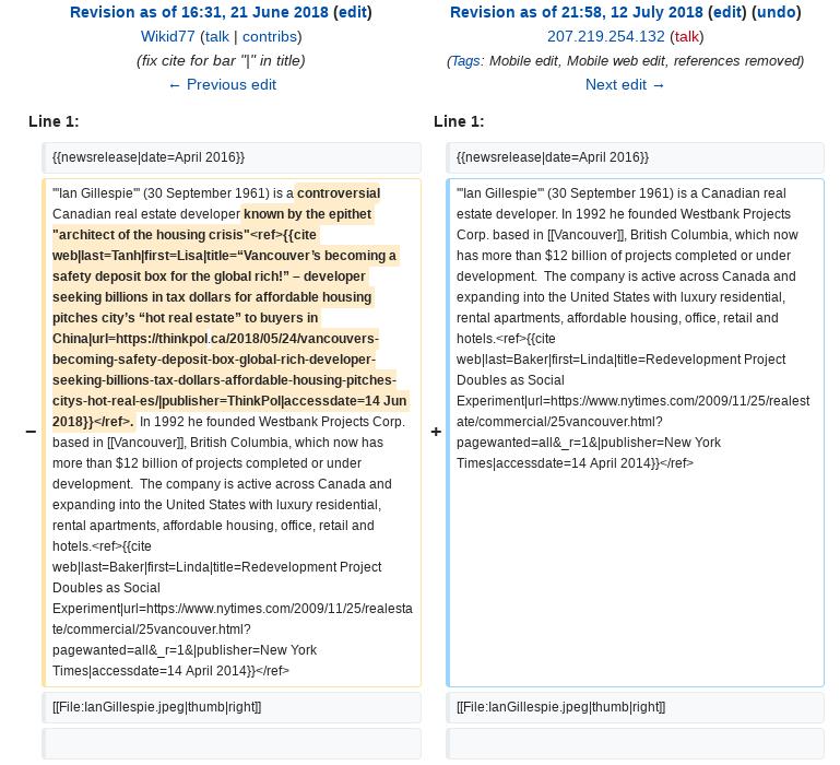 Wikiwashing Westbank: Who's editing developer Ian Gillespie's Wiki page?